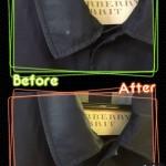Burberryコートのボタン裏のあたり、色抜け、色修復